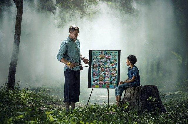chlapec a učitel